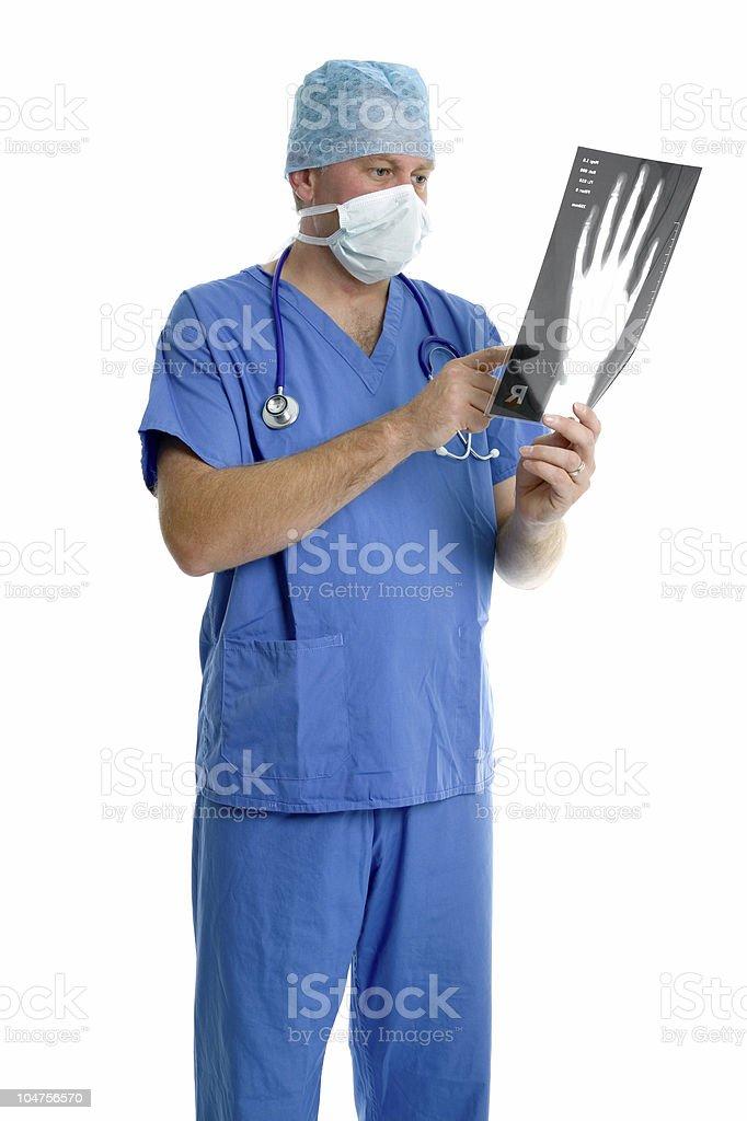 Surgeon checking an x-ray. royalty-free stock photo