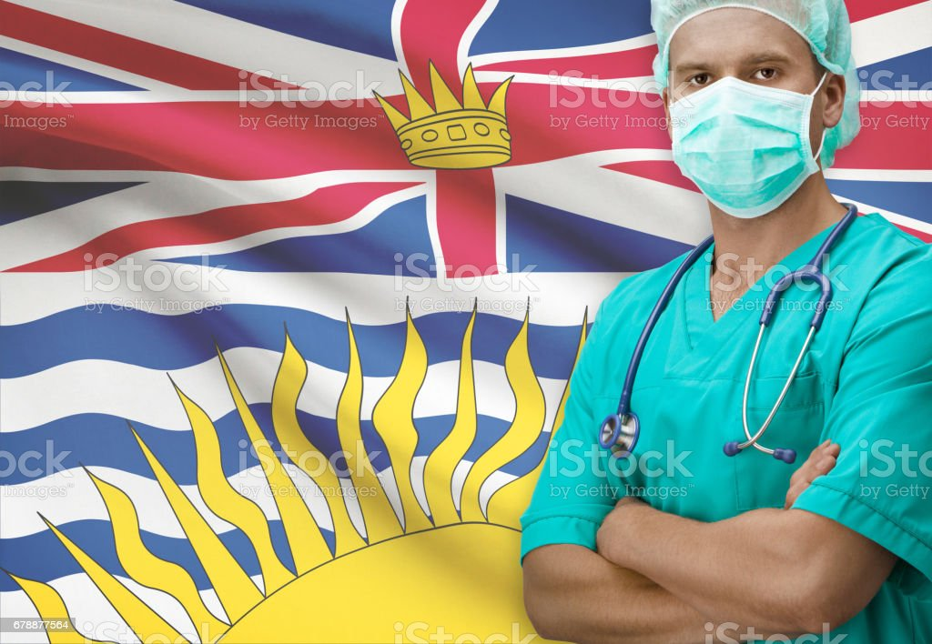 Surgeon with Canadian province flag on background series - British Columbia stock photo