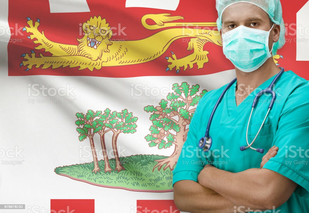 Surgeon with Canadian province flag on background series - Prince Edward Island royalty-free stock photo