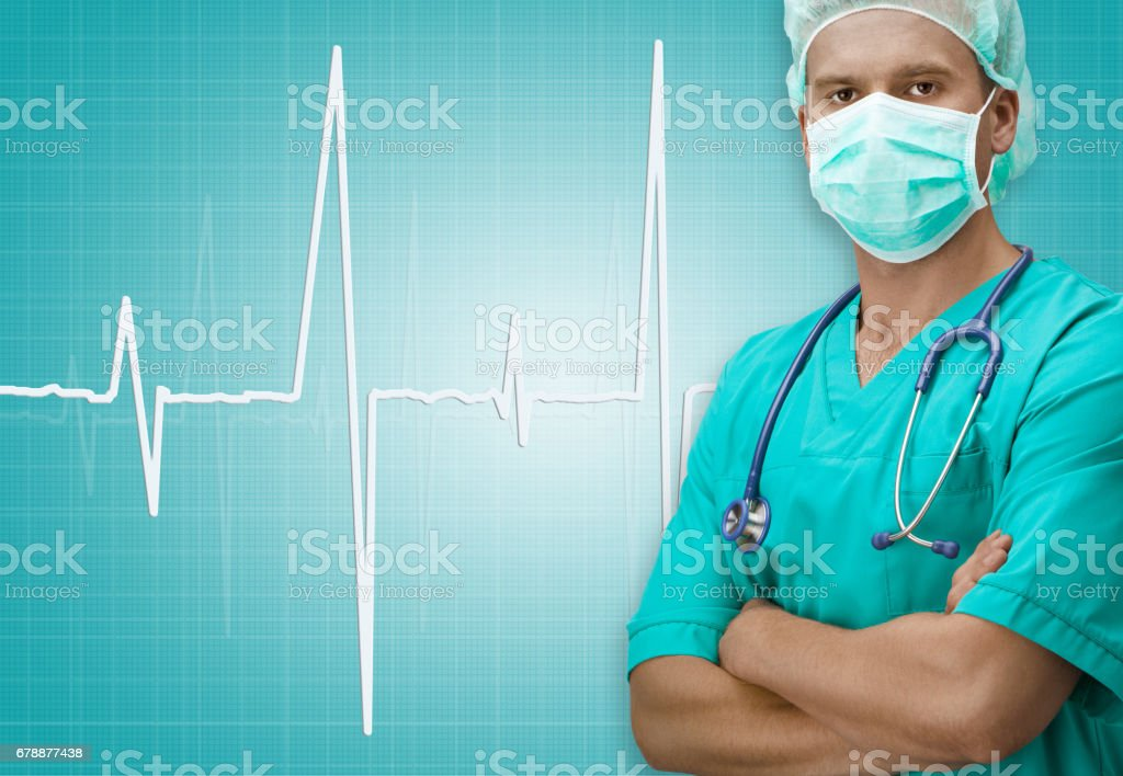 Surgeon with ECG sign on background photo libre de droits