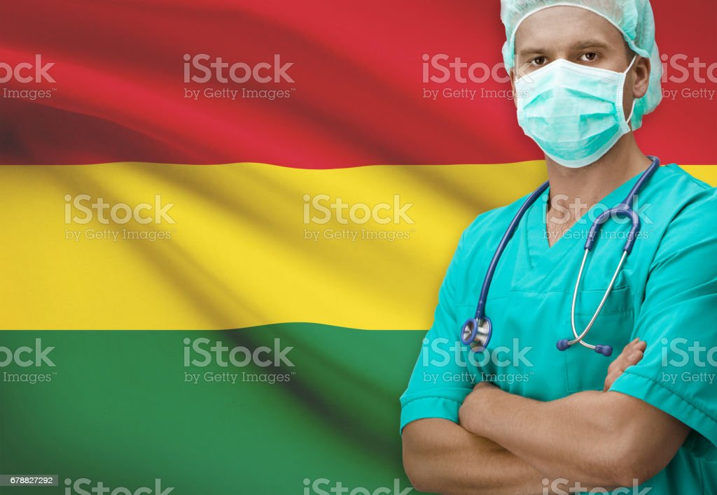 Surgeon with flag on background series - Bolivia royalty-free stock photo