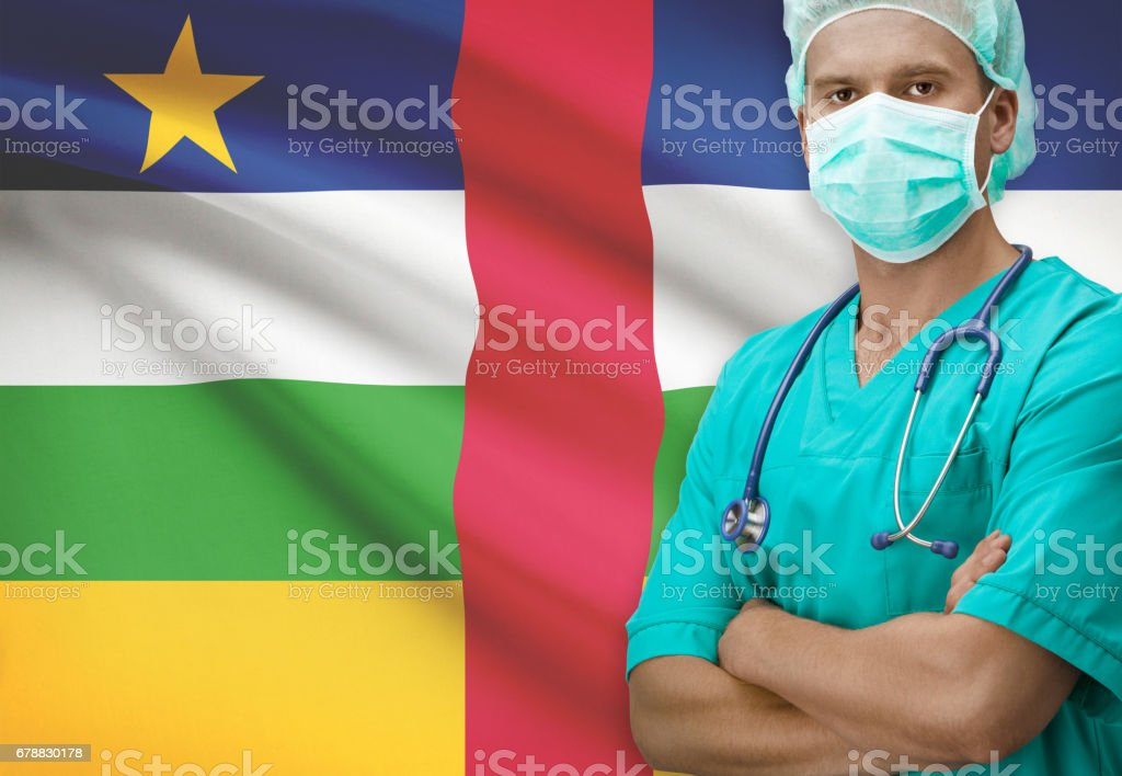 Surgeon with flag on background series - Central African Republic royalty-free stock photo