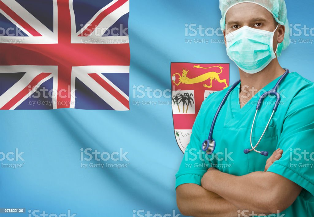 Surgeon with flag on background series - Fiji royalty-free stock photo