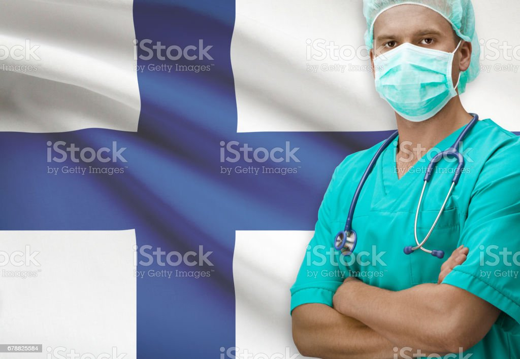 Surgeon with flag on background series - Finland royalty-free stock photo