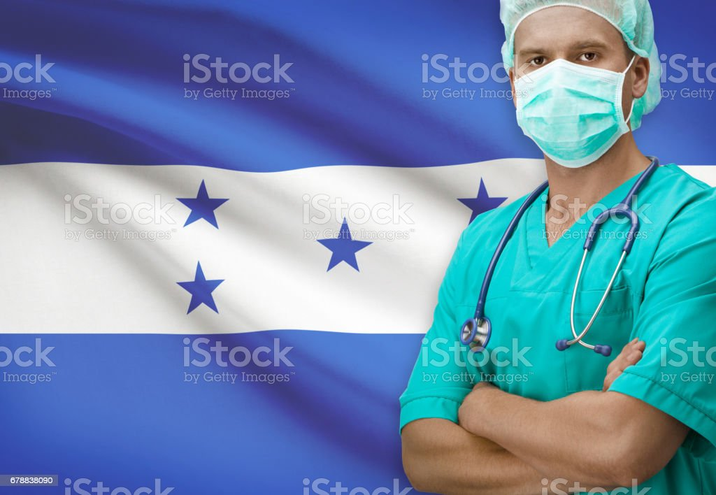 Surgeon with flag on background series - Honduras photo libre de droits