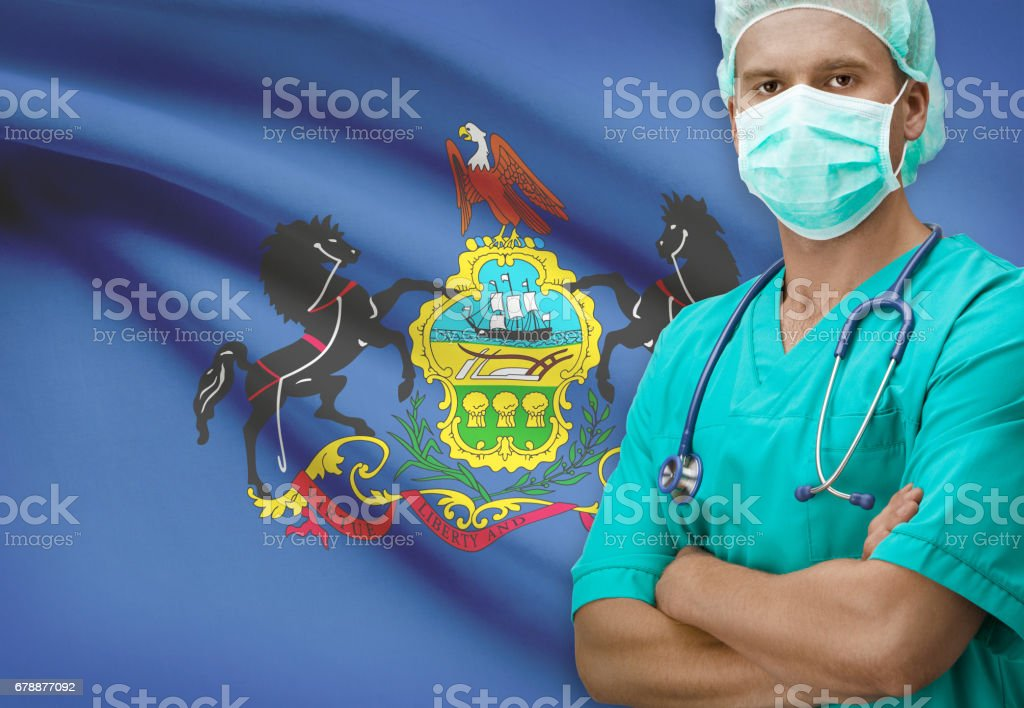 Surgeon with US states flags on background series - Pennsylvania royalty-free stock photo
