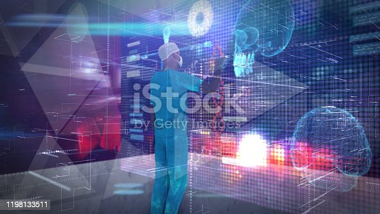 Surgeon working in holographic virtual reality  3D touch screen technology Medical scientist research  using insight virtual reality