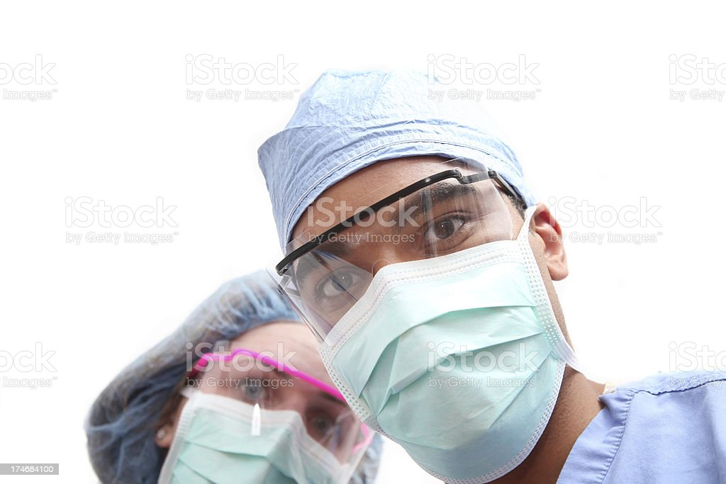 Surgeons looking down royalty-free stock photo