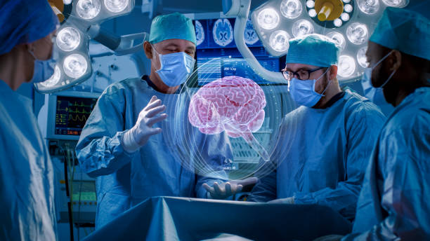 surgeons perform brain surgery using augmented reality, animated 3d brain. high tech technologically advanced hospital. futuristic theme. - augmented reality stock photos and pictures