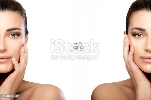 istock Surgery and Anti Aging Concept. Two Half Face Portraits 624644942