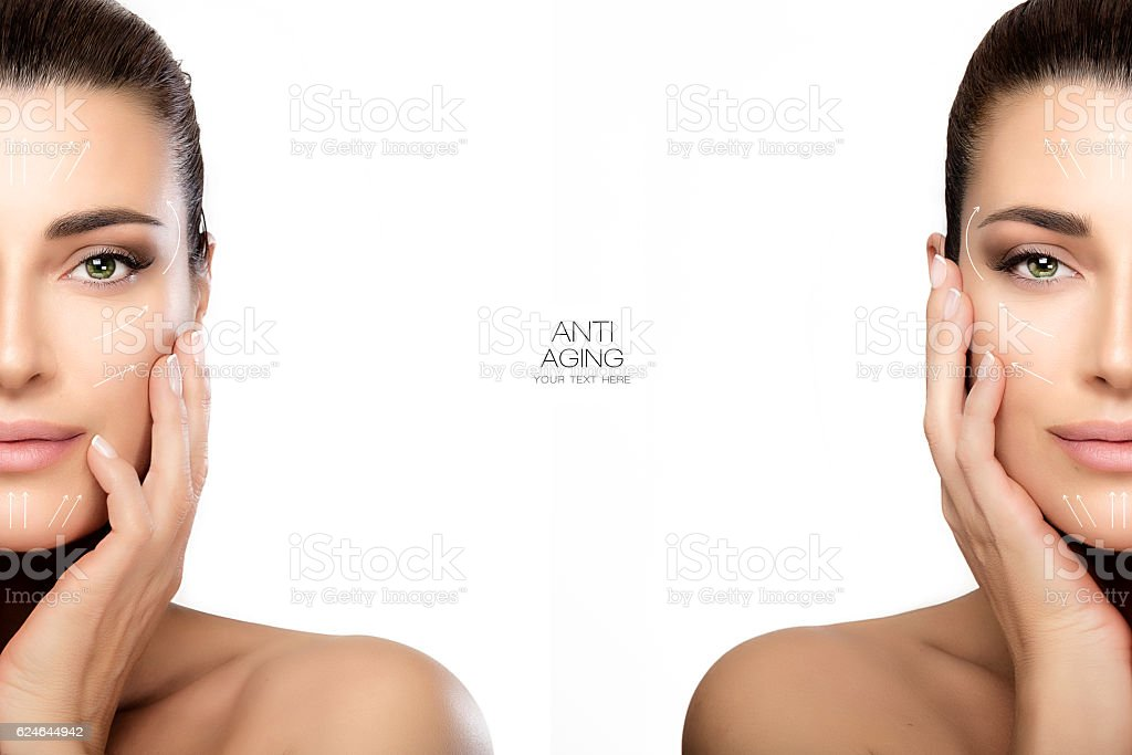Surgery and Anti Aging Concept. Two Half Face Portraits stock photo