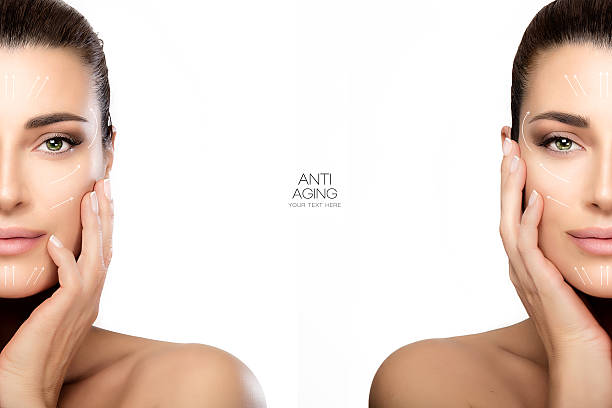 Surgery and Anti Aging Concept. Two Half Face Portraits ストックフォト