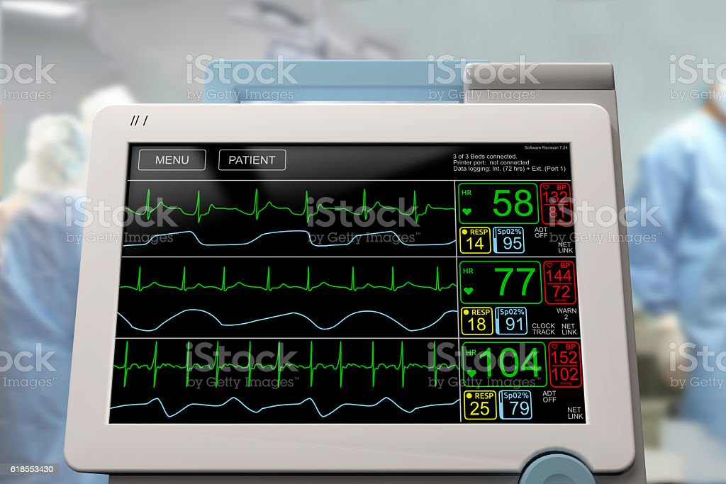 Surgery and intensive care unit monitor, frontal stock photo