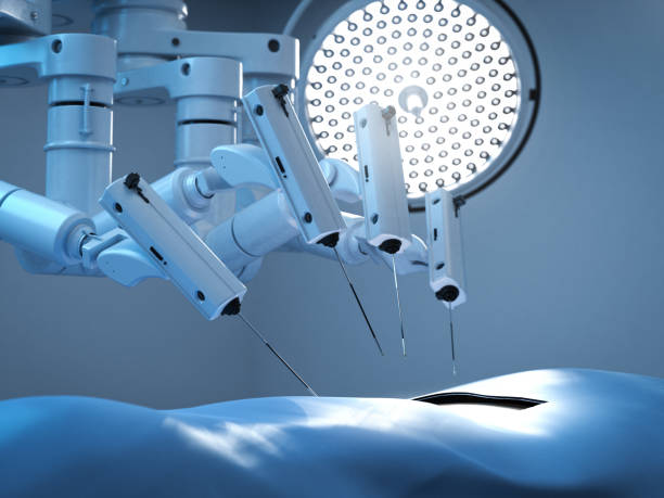 Surgery robot in operation room stock photo