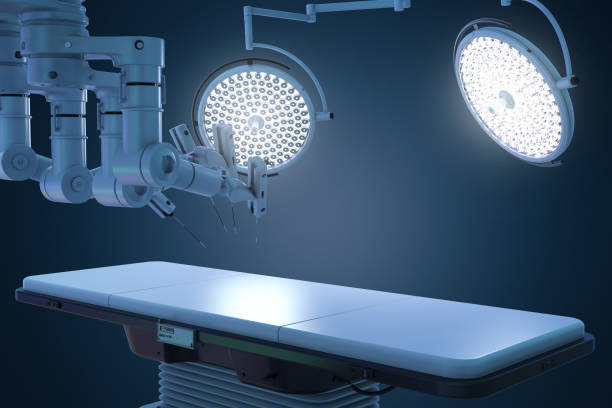 surgery room with robotic surgery stock photo