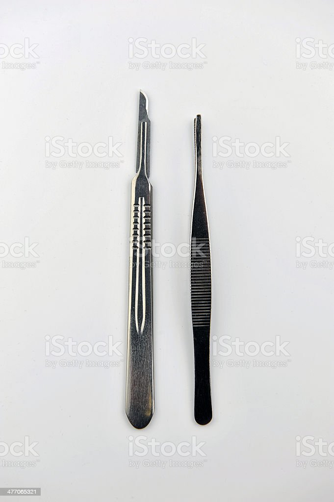 Surgical blades and forceps stock photo