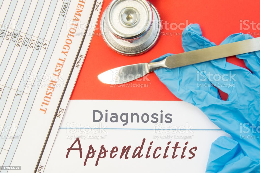 Surgical diagnosis of Appendicitis. Surgical medical instrument scalpel, latex gloves, blood test analysis lie close beside text inscription diagnosis of appendicitis. Concept for surgical diseases stock photo