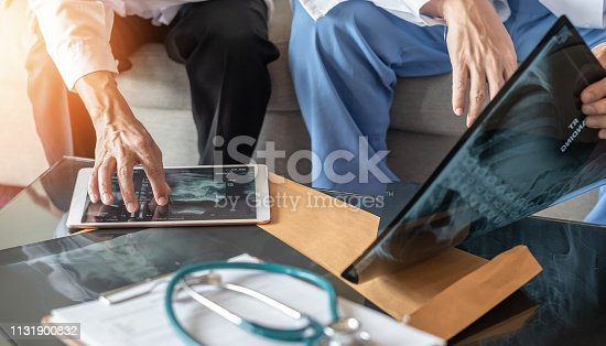 Surgical doctor teamwork, ER surgery medical team, professional orthopedic surgeon with digital tablet working in hospital clinic meeting discussion, diagnostic exam on patient care operation service