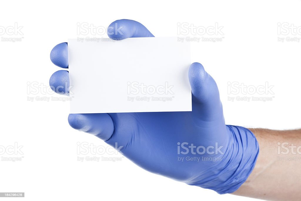 Surgical glove and card stock photo