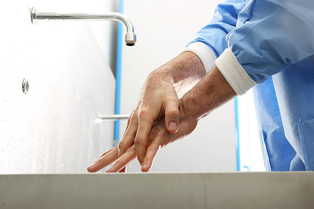Surgical hand disinfection. stock photo