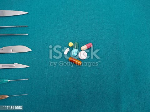 Surgical instrument with syringe and pills of drugs tablets and capsules on surgical green drape fabric, Surgery and drug for beauty concept