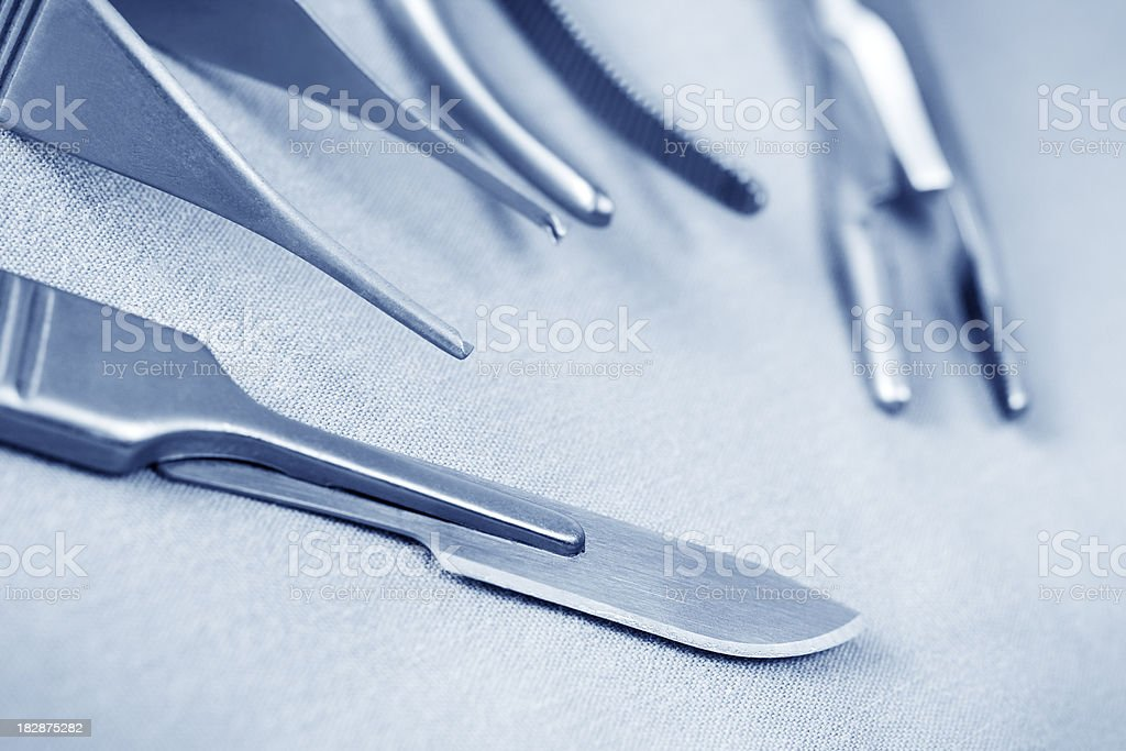 Surgical instruments, blue tint stock photo