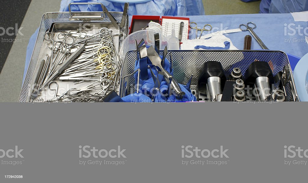 Surgical instruments for total knee replacement royalty-free stock photo