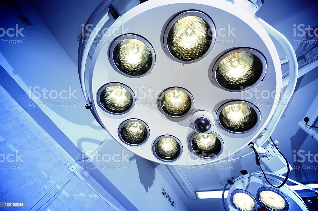 Surgical lamps in operation room hospital stock photo
