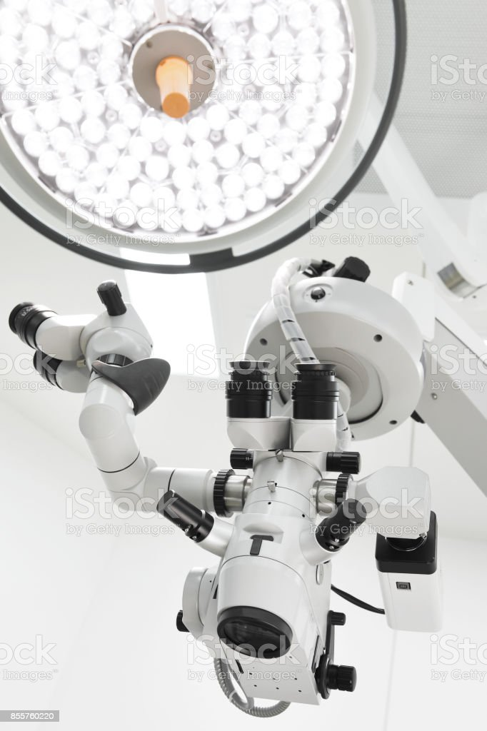 surgical lamps in operation room stock photo