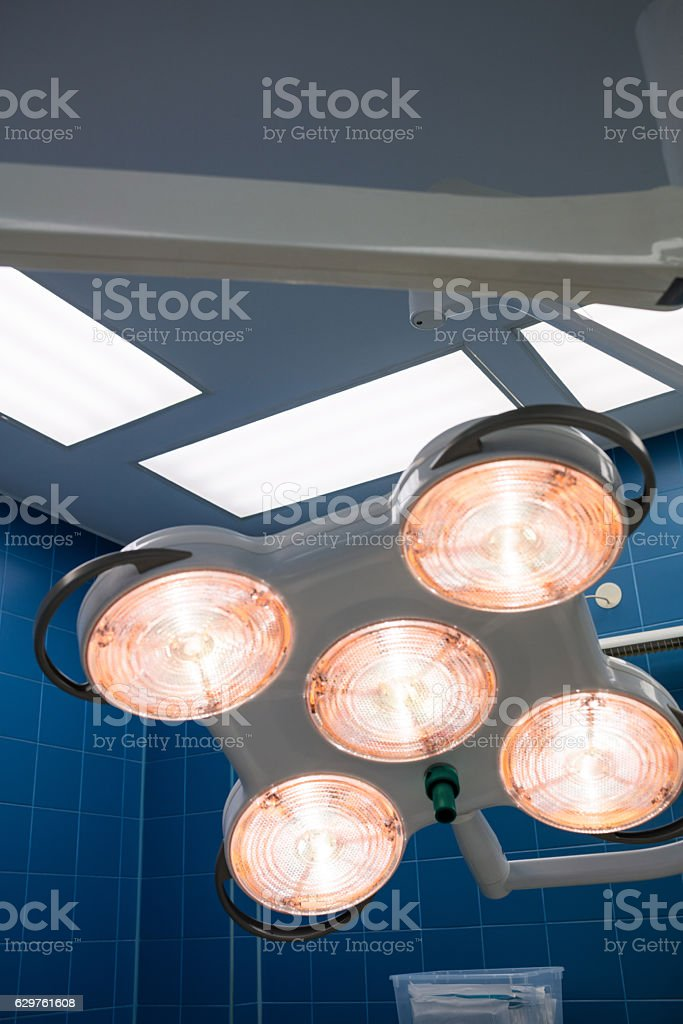 Surgical light in operation room stock photo
