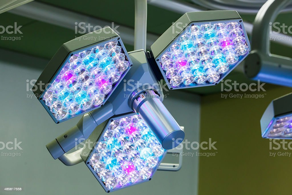 LED surgical lights system in operating room stock photo