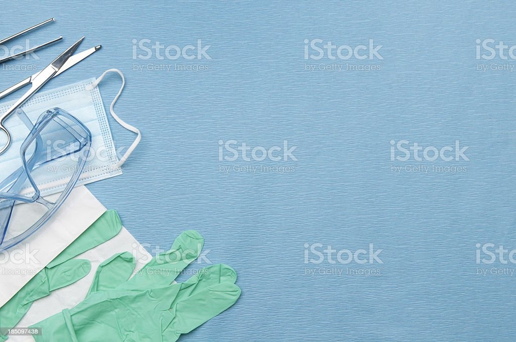 Surgical set up w/Medical safety equipment stock photo