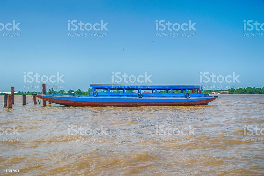 Suriname Blue Boat stock photo