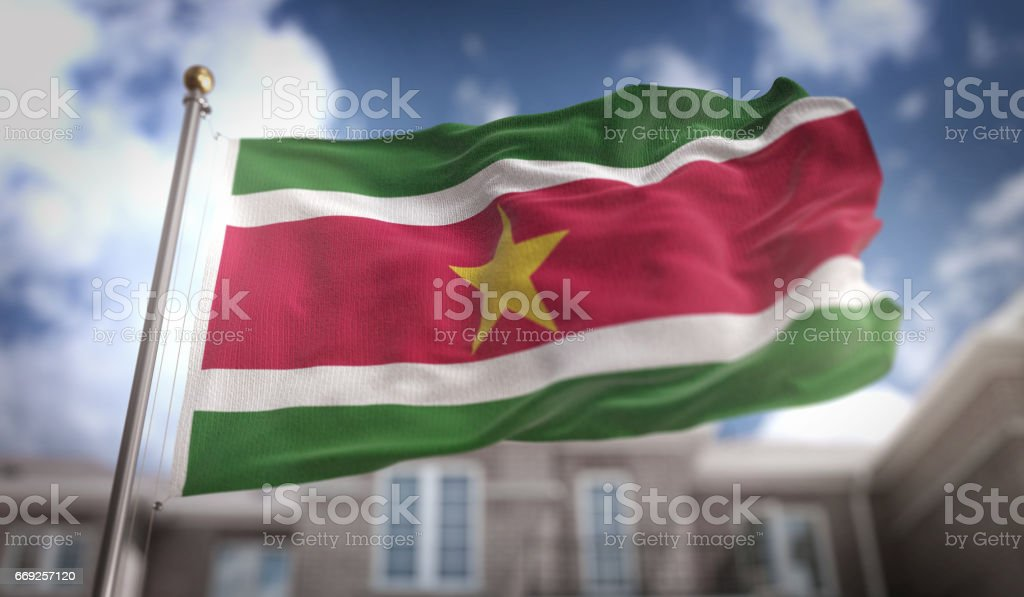 Suriname Flag 3D Rendering on Blue Sky Building Background stock photo