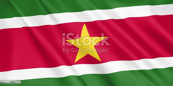 1056280906 istock photo Suriname flag waving with the wind, wide format, 3D illustration. 3D rendering. 1056277600