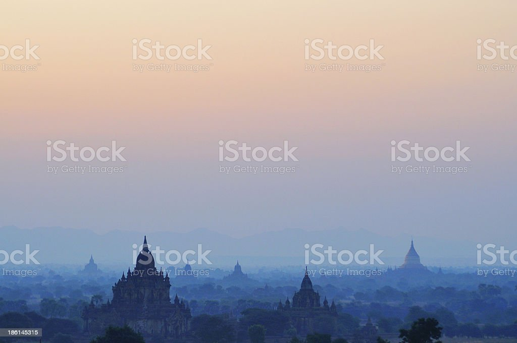 Surise over Pagodas/temples in Bagan, Myanmar stock photo