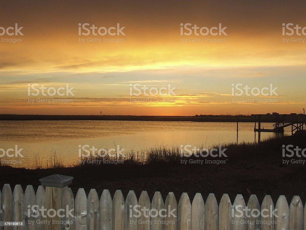surise over reynolds chanel stock photo
