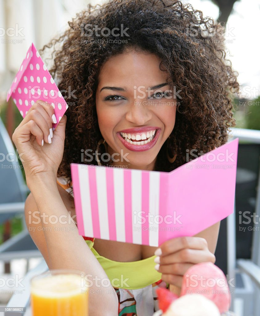 surpised with greeting card royalty-free stock photo