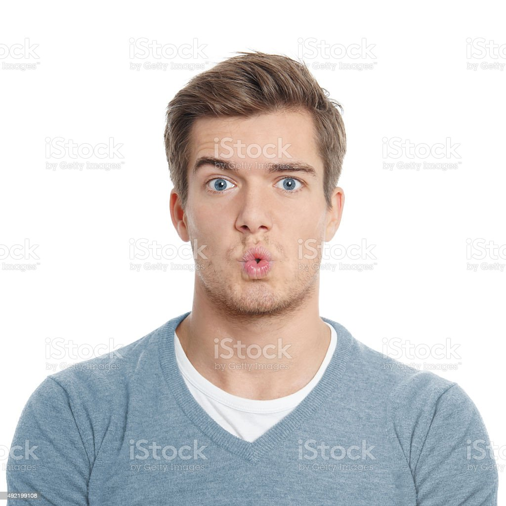 surpised young man stock photo