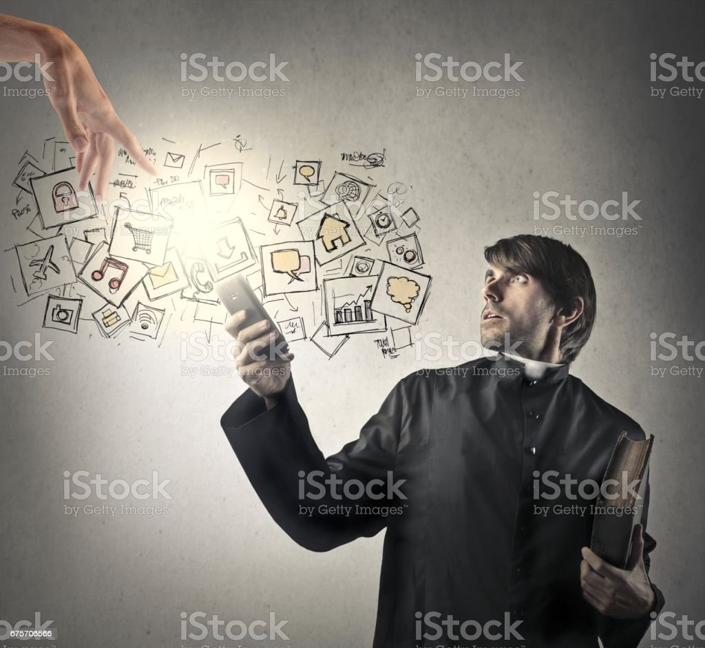 Surpriesed priest royalty-free stock photo