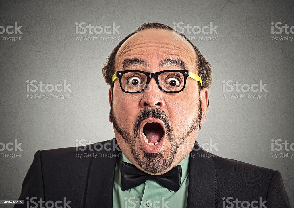 Surprise astonished man stock photo