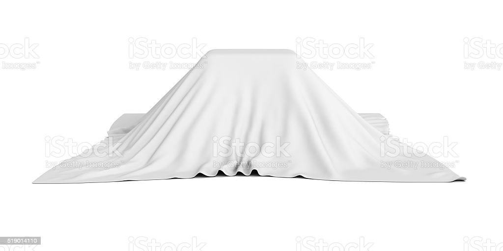 surprise box covered with white cloth stock photo