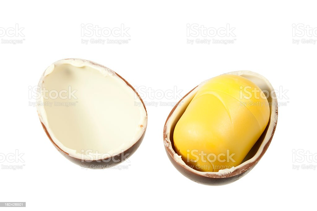 Surprise Egg Chocolate (Clipping Paths) royalty-free stock photo
