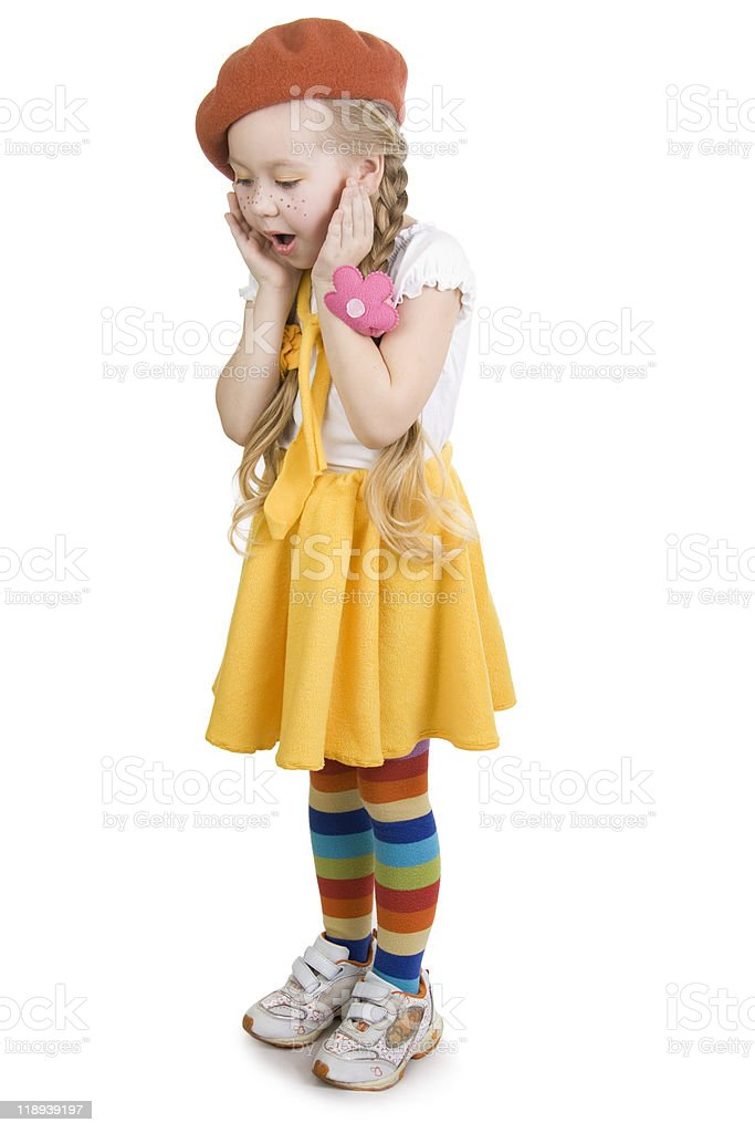 Surprise fashionable little girl. royalty-free stock photo