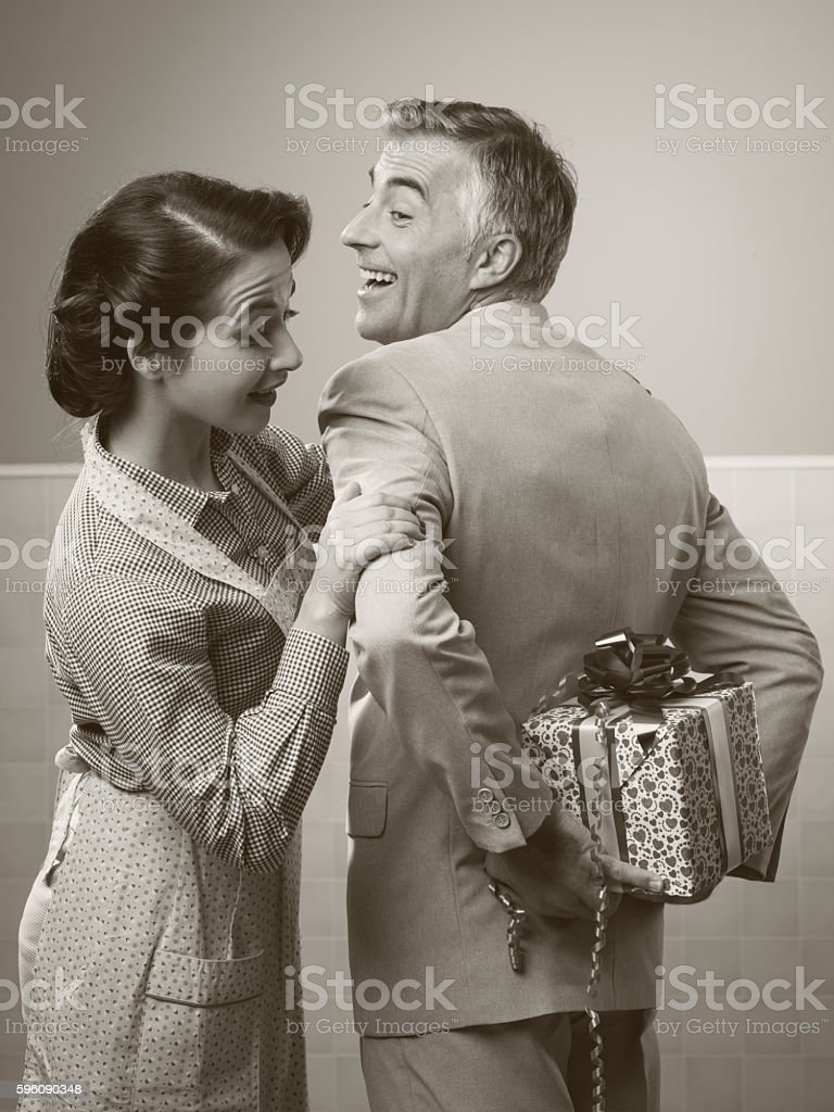 surprise gift for her royalty-free stock photo