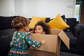 Mixed race girl playing hide and seek with her baby sister as she pops her head out of a cardboard box in the sitting room at home.