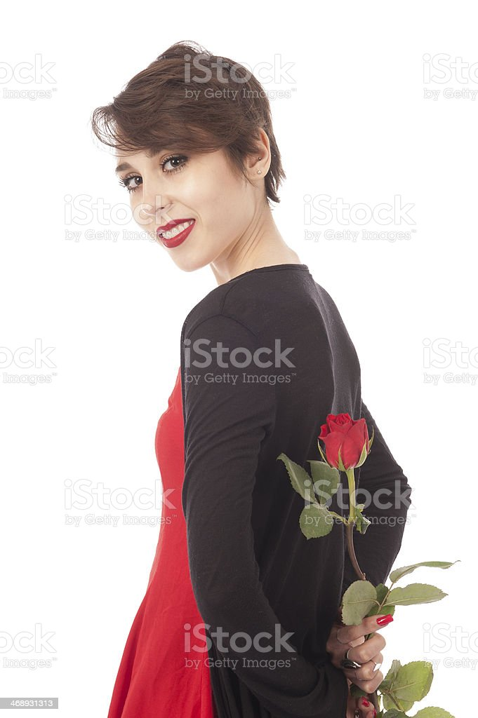 Surprise with a rose stock photo