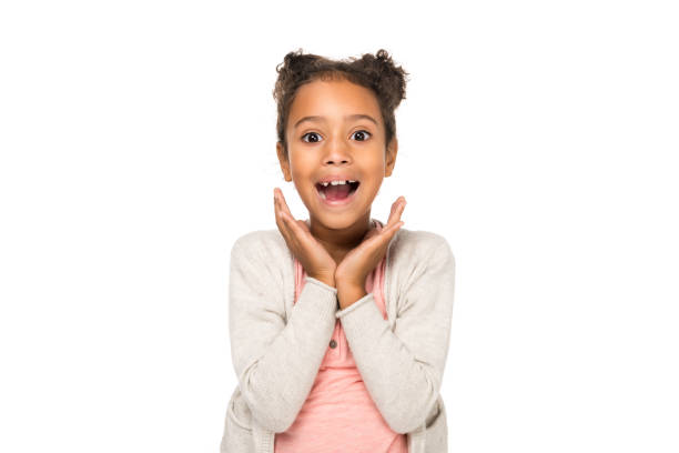 surprised african american child stock photo