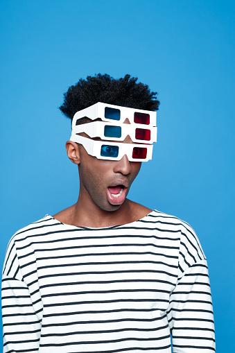 Surprised Afro American Guy Wearing 3d Glasses Stock Photo - Download Image Now