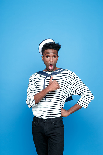 Surprised Afro American Young Sailor Stock Photo - Download Image Now